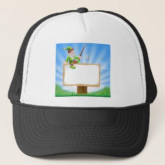 Gnomo del jardín o muestra del duende gorra de camionero