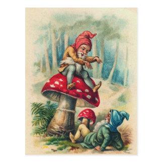 """""""Gnomos que juegan en postal de un Toadstool"""""""