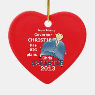 Gobernador 2013 de Christie Adorno Navideño De Cerámica En Forma De Corazón