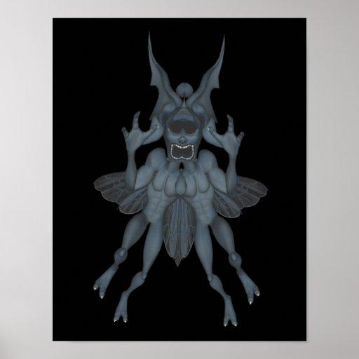 Goblin asustadizo azul Halloween Impresiones