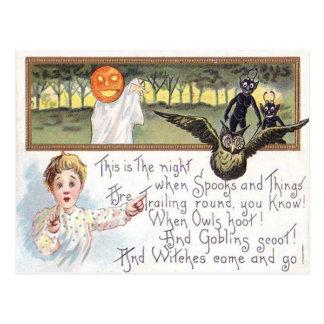 Goblin del búho del fantasma de la calabaza de la postal