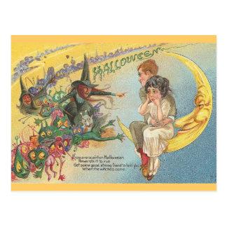 Goblins de las brujas de Halloween del vintage Postal
