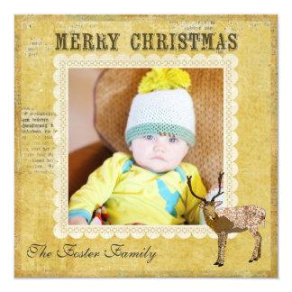 Golden Ornate Buck Christmas Photo Card Invitations