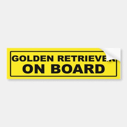 Golden retriever a bordo etiqueta de parachoque