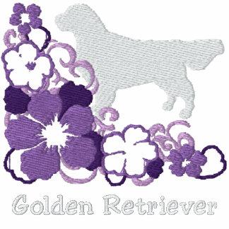 Golden retriever púrpura del hibisco sudadera con serigrafía