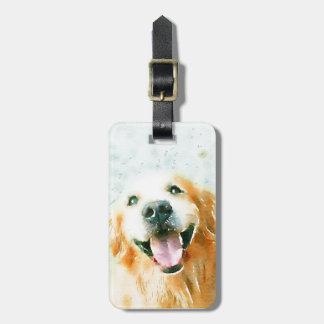 Golden retriever sonriente en acuarela etiquetas para maletas