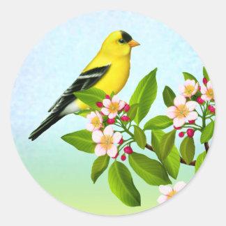 Goldfinch americano en pegatina de los flores de