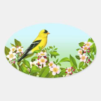 Goldfinch americano en pegatina del óvalo de los