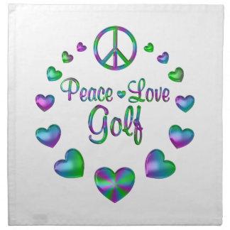 Golf del amor de la paz servilleta de tela