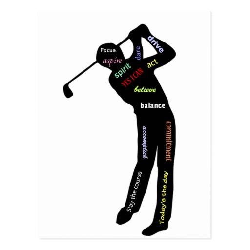 Golf, deporte, palabras de motivación postales