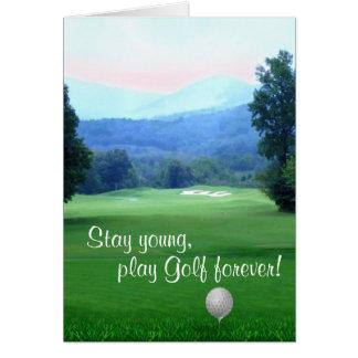 Golf joven del feliz cumpleaños de la estancia tarjeta de felicitación