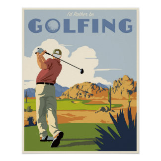 Golfing bastante póster