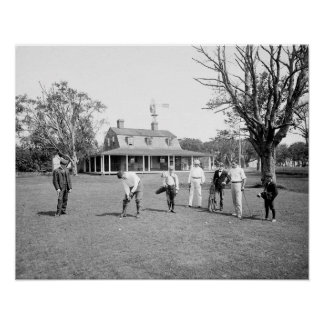 Golfing en el refugio Island, 1904 Póster