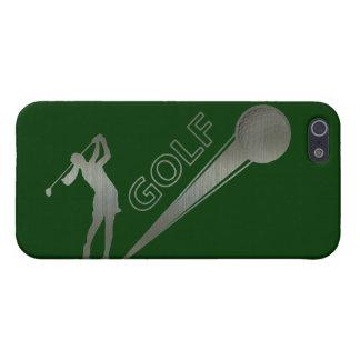 Golfista metálico de la señora que golpea la iPhone 5 protectores