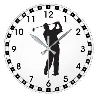 Golfista negro de la silueta reloj redondo grande