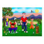 Golfistas del dibujo animado - para el amor del postal