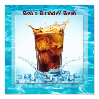 Golpe de la piscina del cumpleaños invitación 13,3 cm x 13,3cm