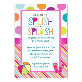 Golpe del chapoteo de Splish (rosa) Invitación 12,7 X 17,8 Cm