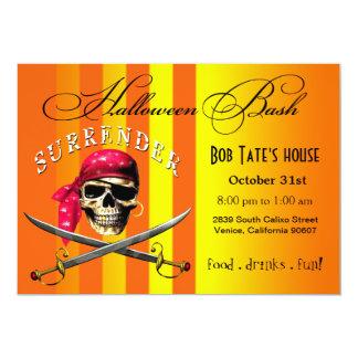 Golpe el | de Halloween del cráneo del pirata Invitación 12,7 X 17,8 Cm