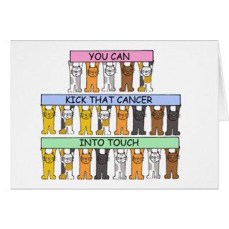 Golpee el cáncer con el pie en gatos del dibujo tarjeta de felicitación