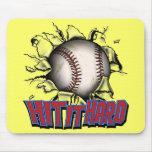 Golpéelo béisbol duro Mousepad Alfombrillas De Ratones
