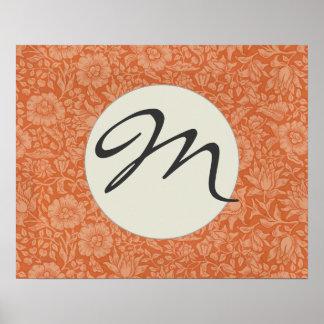 Golpeteo rojo de William Morris del papel pintado Posters