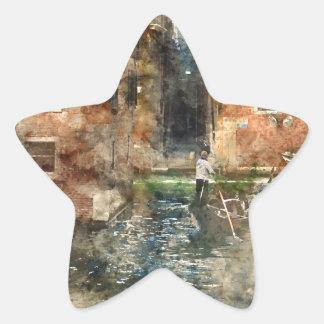 Góndola de Venecia Italia en los canales Pegatina En Forma De Estrella