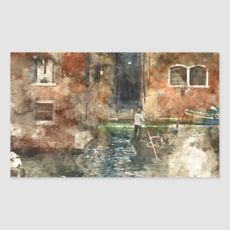 Góndola de Venecia Italia en los canales Pegatina Rectangular