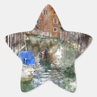 Góndola de Venecia Italia Pegatina En Forma De Estrella