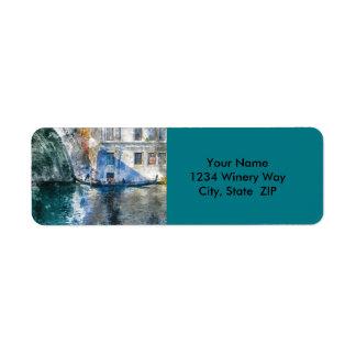 Góndola en el Gran Canal de Venecia Italia Etiquetas De Remite