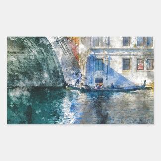 Góndola en el Gran Canal de Venecia Italia Pegatina Rectangular