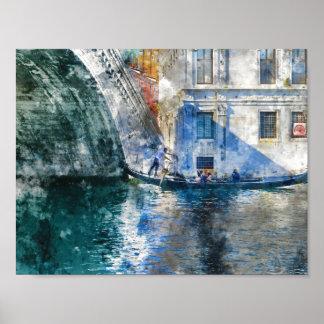 Góndola en el Gran Canal de Venecia Italia Póster