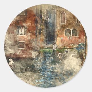 Góndolas de Venecia Italia en el canal Pegatina Redonda