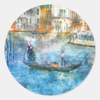 Góndolas en el Gran Canal de Venecia Italia Pegatina Redonda