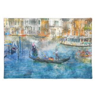 Góndolas en el Gran Canal en Venecia Italia Salvamanteles