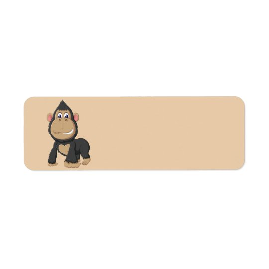 Gorila animado lindo etiqueta de remite