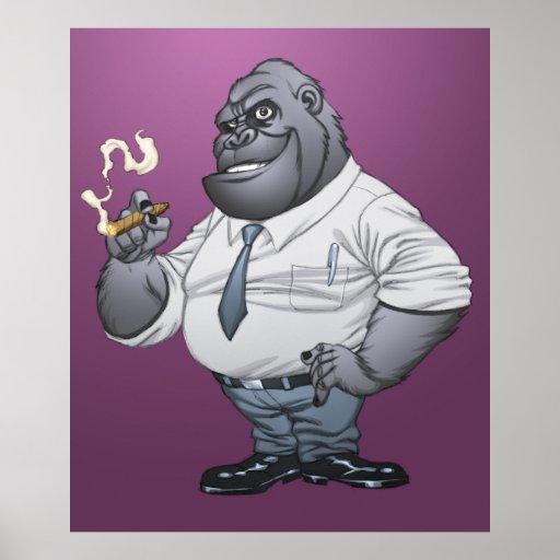 Gorila de Boss del hombre de negocios del cigarro  Posters