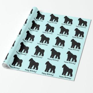 Gorila en feliz cumpleaños de la silueta papel de regalo