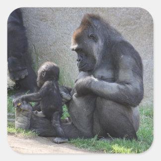 Gorila Pegatina Cuadrada