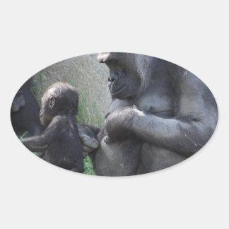 Gorila Pegatina Ovalada