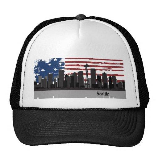 Gorra americano del paisaje urbano de las ciudades