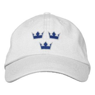 Gorra azul de las coronas de Suecia Tre Gorras De Béisbol Bordadas