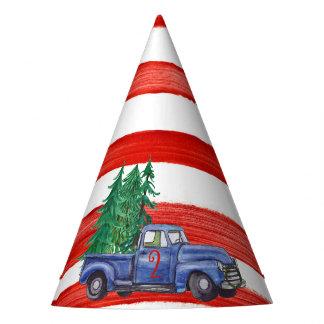 Gorra azul del camión - raya roja - edad Editable