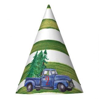 Gorra azul del camión - raya verde - edad Editable