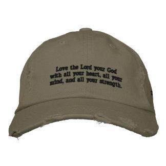 """Gorra Bordada """"Ame al señor su dios con el casquillo de todo su"""