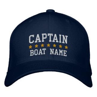 Gorra Bordada Azul náutico de capitán Your Boat Name Cap