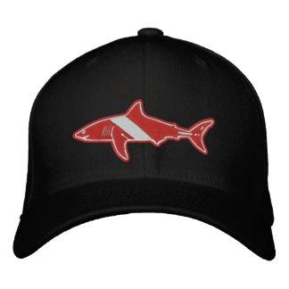 Gorra Bordada Bandera de la zambullida del buceador del tiburón