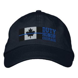 Gorra Bordada Blue Line fino en deber canadiense de la bandera