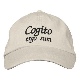 Gorra Bordada De Cogito suma ergo que pienso que por lo tanto