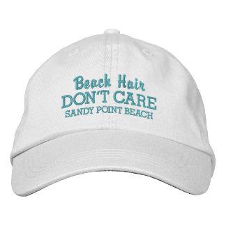 Gorra Bordada El pelo divertido de la playa no cuida nombre de